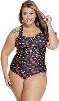 Aleumdr Women's Print Plus Size Two Piece Tankinis Swimsuit XXL