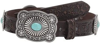 Ariat Embossed Turquoise Conchos Buckle Belt (Brown) Women's Belts