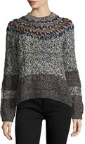 Yigal Azrouel Long-Sleeve Embroidered Sweater, Heather Gray