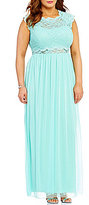 Jodi Kristopher Plus Jeweled Lace Popover-Bodice Long Dress