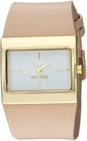 Nine West Women's NW/2034WTTN Gold-Tone and Natural Colored Strap Watch