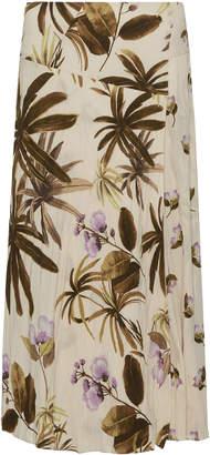 Vince Mixed Tropical Garden Crepe Midi Skirt Size: 12