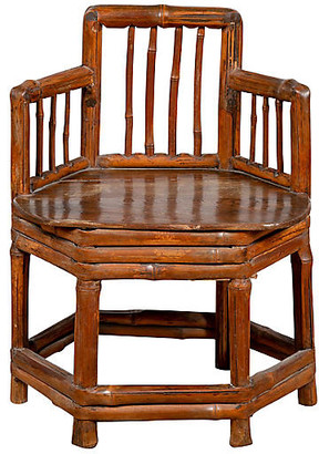 One Kings Lane Vintage Antique Chinese Child's Corner Chair - FEA Home - brown