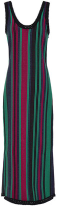 3.1 Phillip Lim Crochet-trimmed Striped Ribbed-knit Midi Dress