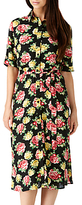 Sugarhill Boutique Faye Floral Midi Shirt Dress, Black/White