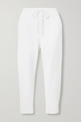 Nili Lotan Nolan Cropped Cotton-jersey Track Pants - White
