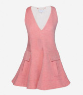 Carven Pink Espelette Chambray Flared Top - 38 - Pink