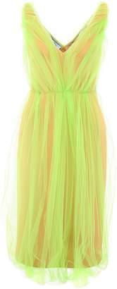 Prada V-Neck Tulle Dress