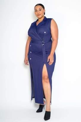 Couture Buxom Stretch Denim Sleeveless Blazer Maxi Dress in Blue Size 2X