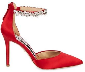 Badgley Mischka Evie Crystal Embellished Satin d'Orsay Pumps