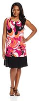 MSK Women's Plus-Size Sleeveless Printed Flounce Hem Dress