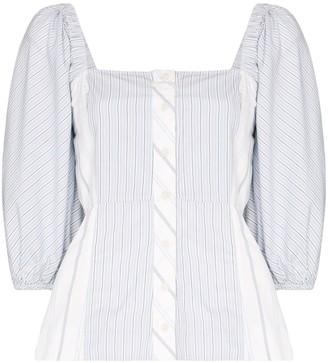Ganni square-neck striped blouse