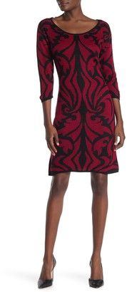 Papillon Damask 3/4 Sleeve Sweater Dress