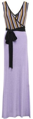 Just Cavalli Wrap-effect Striped Metallic Ribbed-knit Maxi Dress