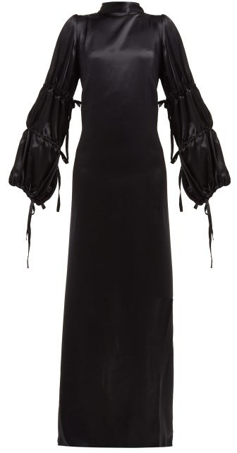 Ann Demeulemeester Open Back Silk Satin Crepe Gown - Womens - Black