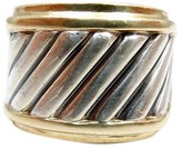 David Yurman 14K Gold Silver Thoroughbred Cigar Ring