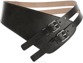 Michael Kors Asymmetric Leather Waist Belt - Black
