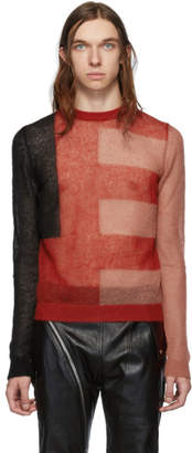 Rick Owens Black and Red Cropped Biker Level Sweater
