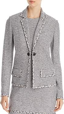St. John Crepe Tweed Knit-Trim Blazer