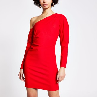 River Island Womens Red one shoulder bodycon mini dress