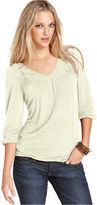 Lucky Brand Jeans Top, Three-Quarter V-Neck Lace