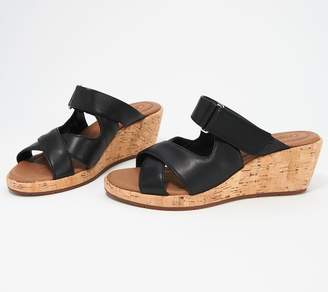 Clarks Leather Wedges - Un Plaza Slide