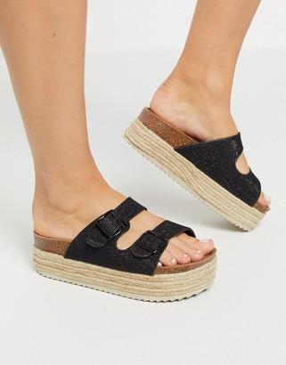 Xti flatform double buckle espadrille sandals in black