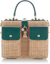 Dolce & Gabbana Embellished Leather-Trimmed Rattan Tote
