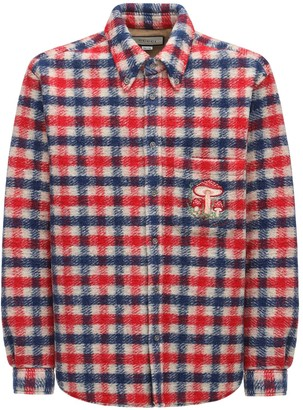 Gucci Embroidered Check Wool Blend Over Shirt