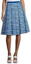 Michael Kors High-Waist Pleated A-Line Skirt, White/Cobalt