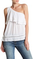 Lucky Brand One Shoulder Crochet Lace Popover Blouse
