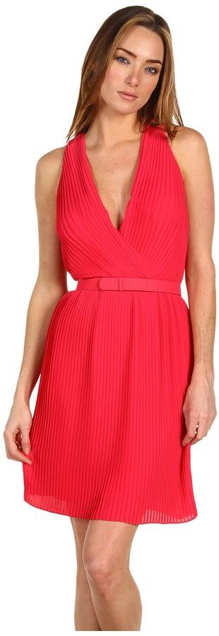 Halston Pleated Wrap Bodice Dress With 1 Self Belt (Rose) - Apparel