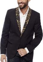 Asstd National Brand WD-NY Black Leopard Shawl Collar Tuxedo Jacket - Slim Fit