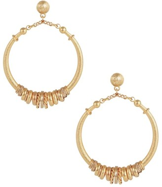 Gas Bijoux Marzana 24K Goldplated Charm Hoop Earrings