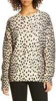 R 13 Cheetah Print Distressed Cashmere Sweater