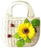 Donalworld Natural Corn Husk Top-handle Beach Casual Handbag