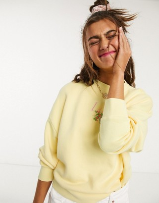 Lazy Oaf relaxed sweatshirt with floral embroidery