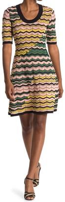 M Missoni Chevron Striped Scoop Neck Dress