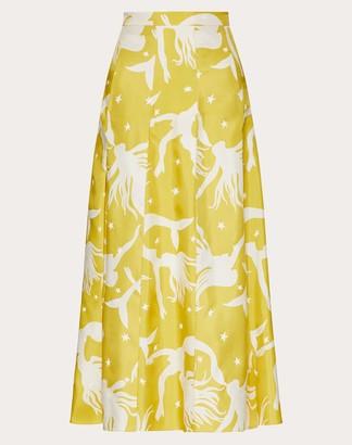 Valentino Printed Twill Skirt Women Sunflower Silk 100% 36