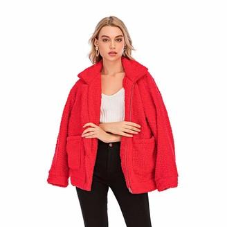 Milky Way Womens Casual Fleece Long Sleeve Fluffy Faux Fur Sherpa Jacket Sweatshirt Outerwea Coat Teddy Bear Jacket (Red M)
