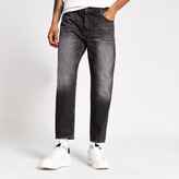 Mens River Island Black wash Jay loose fit cropped jeans