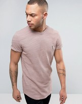 Religion Longline T-shirt In Slub Jersey With Roll Sleeve