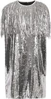 MSGM Fringed Sequined Georgette Mini Dress
