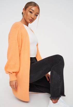 Missguided Orange Tuck Sleeve Cardigan