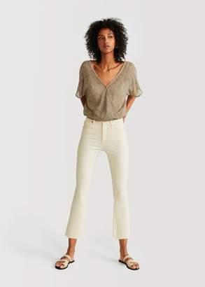 MANGO Openwork knit t-shirt light/pastel grey - XS - Women