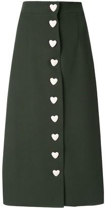George Keburia Heart Button-Down Skirt