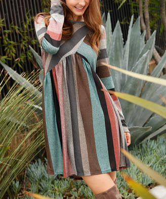 Egs By Eloges egs by eloges Women's Casual Dresses MINT - Mint & Pink Stripe Empire-Waist Dress - Women & Plus