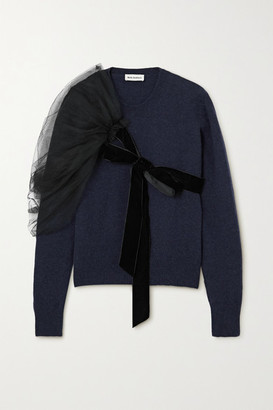 Molly Goddard Eliza Layered Velvet-trimmed Tulle And Wool Sweater - Navy
