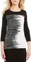 Calvin Klein Scoop Neck 3/4 Sleeve Digital Stripe Print Matte Jersey Top