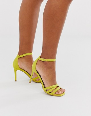 Miss Selfridge heeled sandals with square toe in lime-Green